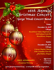2015 Gorge Winds Concert Band Christmas Flyer